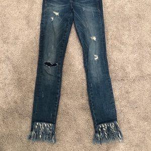 Fringe skinny jeans